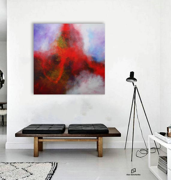 Contemporary art, original acrylic abstract painting / Unique painting by Alex Senchenko / Free  Worldwide Shipping .