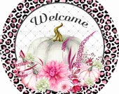 10 quot Round Fall Wreath Sign, Fall Wreath Signs, Pink Pumpkins, Personalize it by Pam, Signs for Wreaths, Door Decor