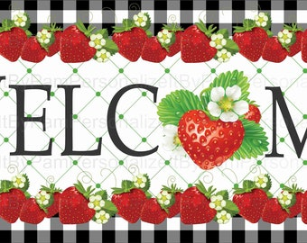 DOLLS HOUSE Retro  Metal Sign = Strawberries