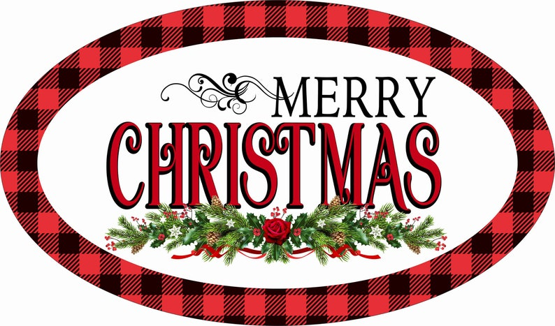 Personalize it by Pam Signs for Wreaths 12 x 7 Oval Merry Christmas Wreath Sign