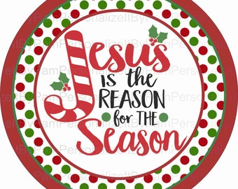 """10"""" Round Jesus is the Reason for the Season Wreath Sign, Christmas Wreath Sign, Signs for Wreaths, Door Decor"""