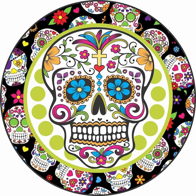 8 Round Sugar Skull Halloween Sign Halloween Wreath image 0