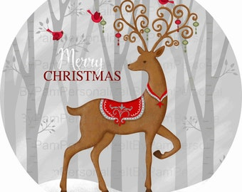 """8"""" Round Merry Christmas Wreath  Sign, Deer Wreath Sign, Personalize it by Pam, Signs for Wreaths, Door Decor"""