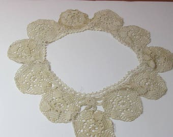 Vintage hand made lace doilie; ecru early 1900's furniture accent