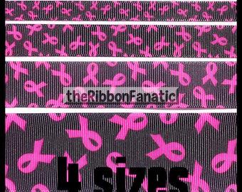"5 yds 3/8""  5/8""  7/8""  or 1.5""  Breast Cancer Awareness Pink Ribbon on Black  Grosgrain Ribbon"
