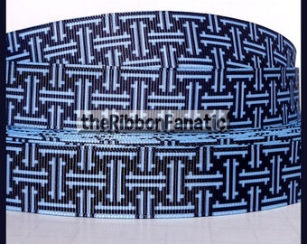 "5 yds 7/8"" Navy Aqua Lattice Work Geometric. Grosgrain Ribbon"