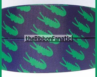 "5 yds 1.5"" Green Alligators on Navy Blue Preppy Grosgrain Ribbon"