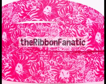 """5 yds 7/8""""  Fabric Inspired Get Spotted Pink White Lions Tigers Cats Grosgrain Ribbon"""