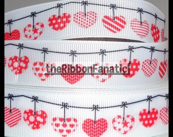 """5 yds 7/8"""" Red Hearts on Clothesline Love Grosgrain Ribbon"""