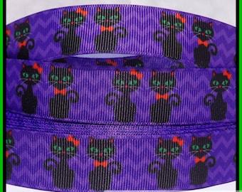 "5 yds 7/8"" Halloween Cute Black Cats on Purple Chevron Grosgrain Ribbon"