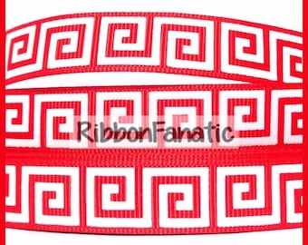 """75% off 5 yds 5/8"""" Red and White Greek Key Pattern Grosgrain Ribbon"""