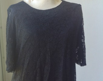 Coldwater Creek. 2X. 20-22. Black lace blouse. Curvy woman. Plus. Free Priority US shipping.