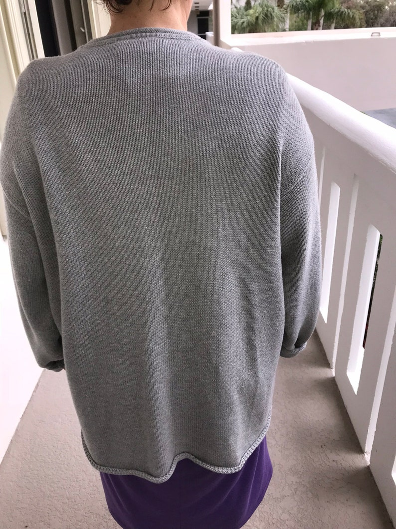Heavy cotton sweater Plus 1X Free US Priority ship. XXL Curvy woman Slouchy Comfort Oatmeal heather knit Oversized Light gray