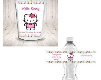 Hello Kitty Waterproof Water Bottle Label Capri Sun