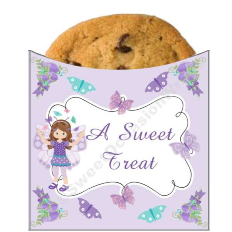 Teal Set of  12 Cookie Sleeves Pink Baby Shower Butterfly Fairy Purple Wrappers Birthday