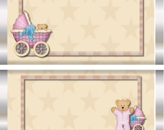 Baby Carriage Buggy, Teddy Bear Baby Boy or Girl  Candy Wrappers