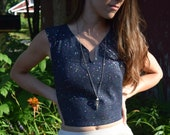 denim crop with metallic paint splatter and elastic corset sides space rave stretchy 90 39 s crop-top