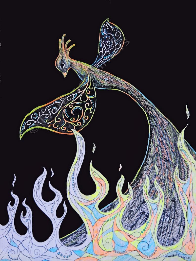 Print : rising phoenix abstract fractal firebird/fire bird