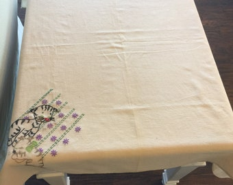 Flour Sack Grain Sack Tablecloth Hand Sewn Embroidery Kittens