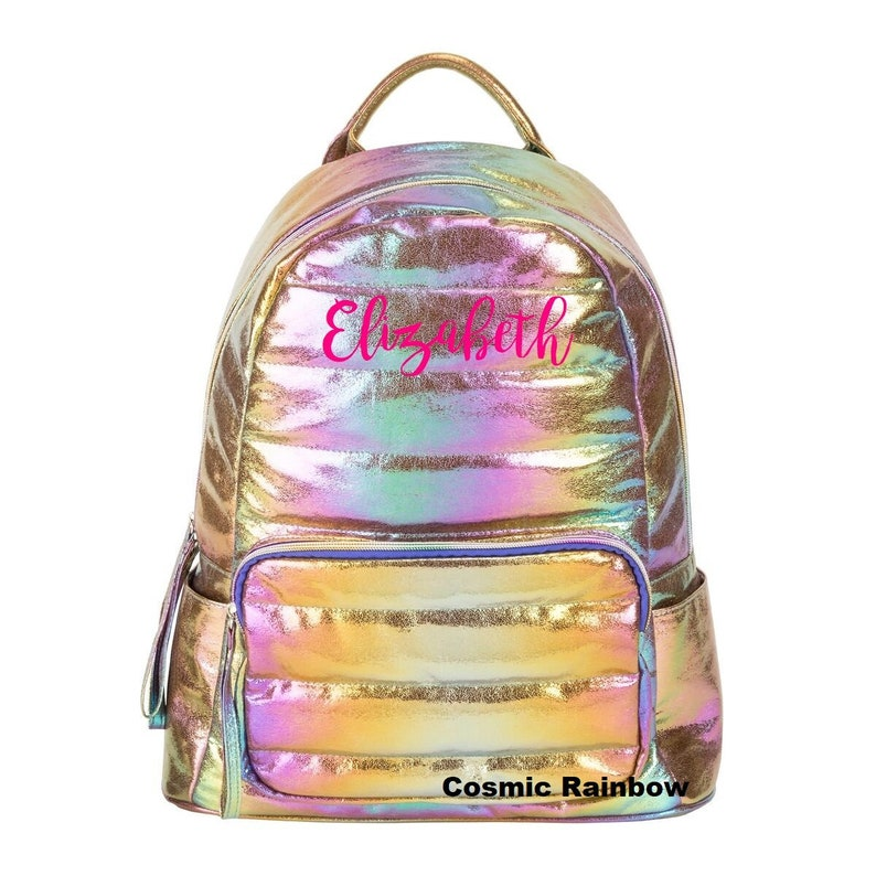 4fa7bc236888 Personalized Three Cheers For Girls Cosmic Rainbow or Moonbeam Iridescent  Puffer Back Pack and LunchBox Matching Set Back to School