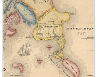 Winthrop Massachusetts Vintage Map Keychain