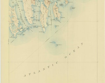 Harrington Maine Map.Steuben Maine Map Etsy