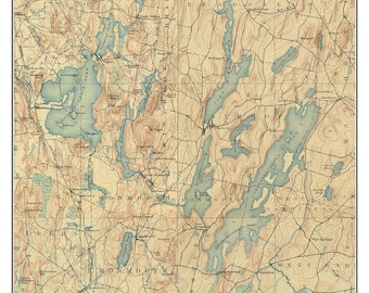 Maine Lakes Map Etsy - Maine lakes map