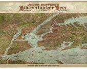 New York City - 1912x Bird 39 s Eye View from Knickerbocker Beer Ad - Reprint