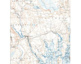 Steuben Maine Map.Steuben Maine Map Etsy