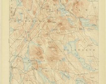 Orland Maine Map.Orland Me Map Etsy