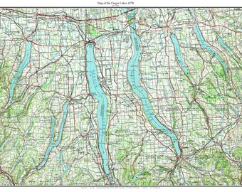 Finger lakes map   Etsy