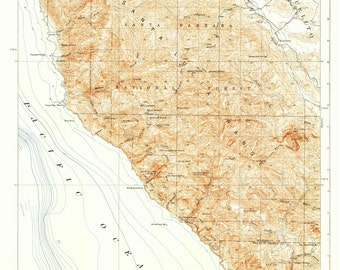 California topo map | Etsy on