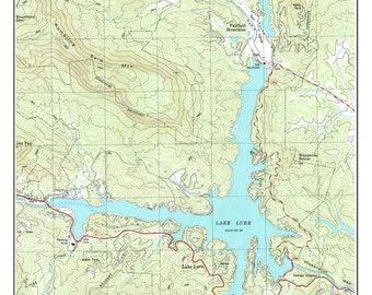 lake lure north carolina map Lake Lure Map Print Etsy lake lure north carolina map