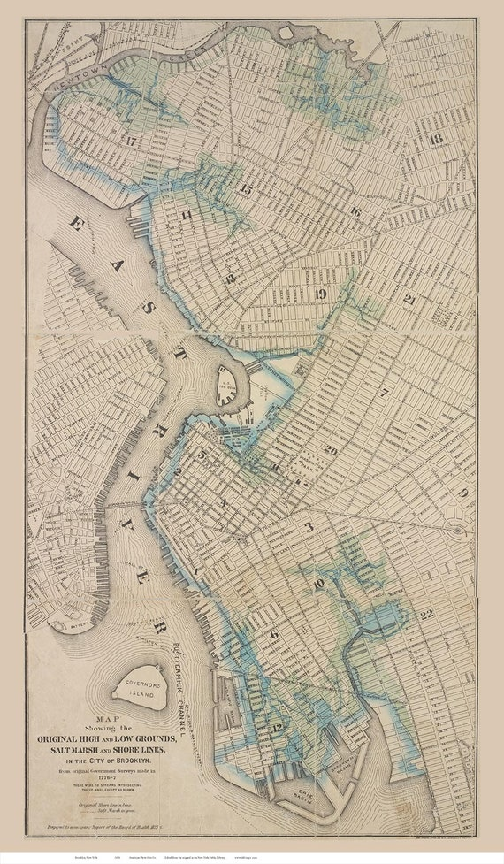 Old Map Of New York.Brooklyn 1876 Old Map New York Reprint