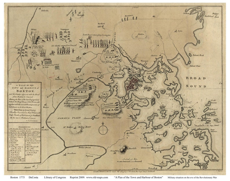 Boston 1775 Military Map by deCosta Reprint | Etsy on