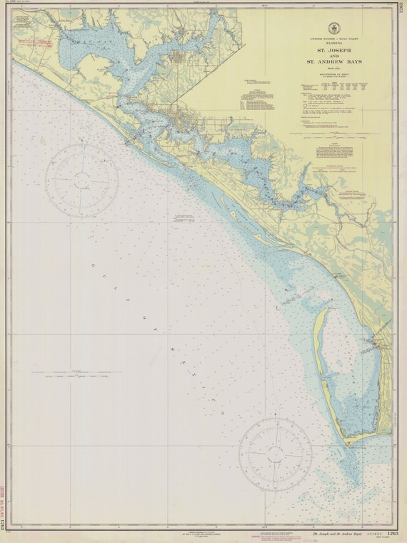 Map Of Florida Bays.St Joseph St Andrew Bays 1943 Panama City West Bay Cape Etsy