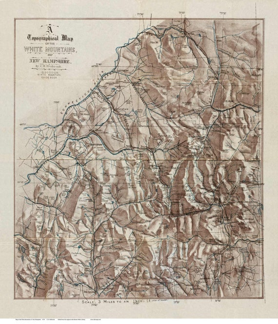 Topographic Map Mountains.White Mountains 1870 Old Topographic Map Reprint New Etsy