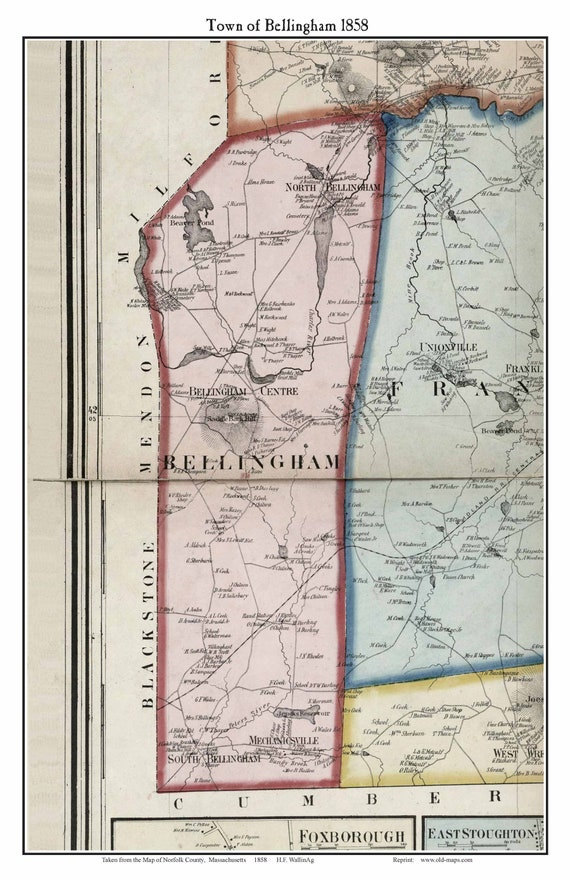 Bellingham, Machusetts 1858 Old Town Map with Homeowner Names - Reprint on map of rockingham county nh towns, map of middlesex county ma towns, map of cape cod ma towns, map of litchfield county ct towns,