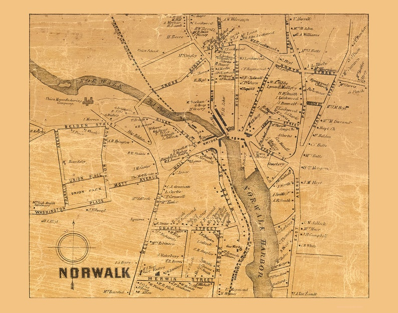 Norwalk Village Connecticut 1858 Old Town Map with Homeowner Names -  Reprint Fairfield County CT
