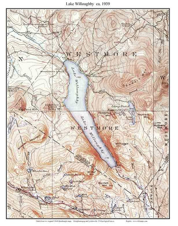 Lake Willoughby 1939 Old Topographic Map Usgs Custom Etsy