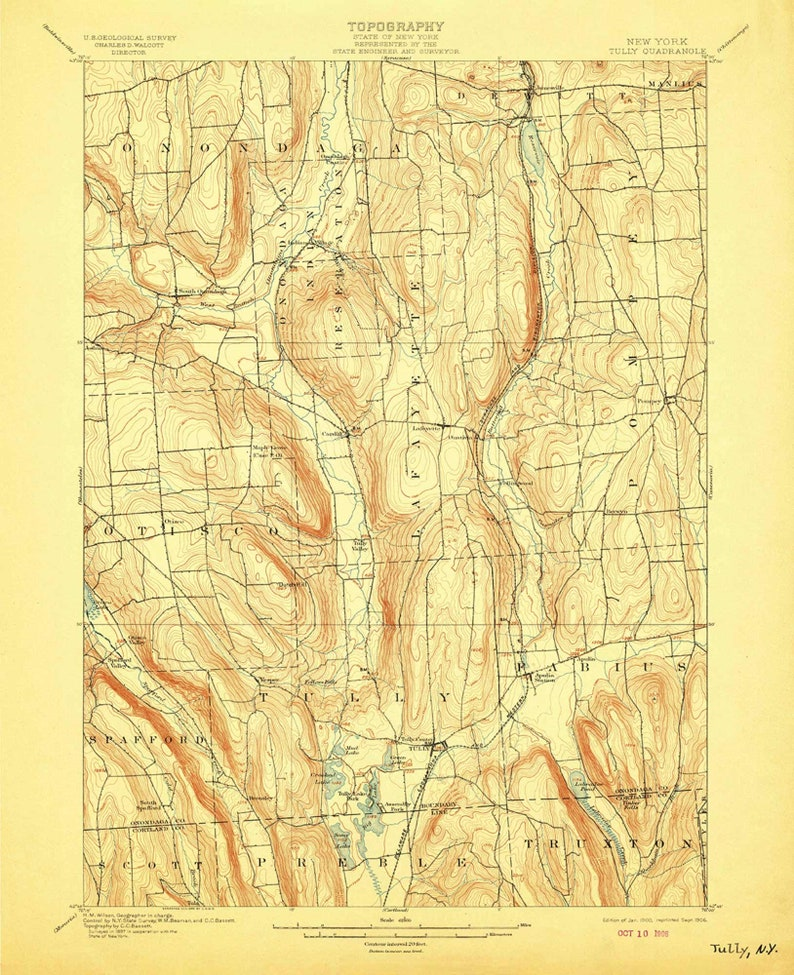 Map Of New York Indian Reservations.Tully 1900 1906 Old Topo Map Onondaga Indian Reservation Otisco Truxton Quad Reprint 5x15 Usgs New York