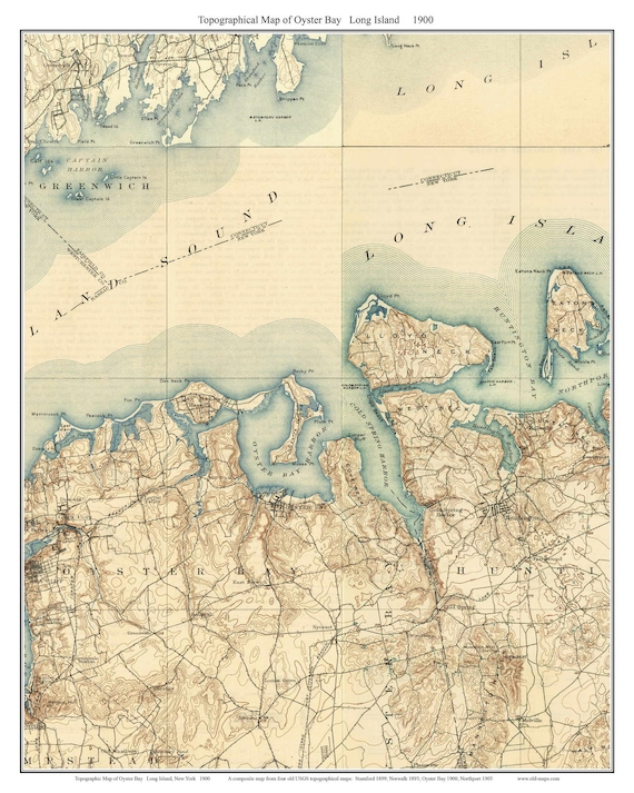 Oyster Bay New York Map.Oyster Bay 1900 Long Island New York Old Usgs Topo Map Etsy