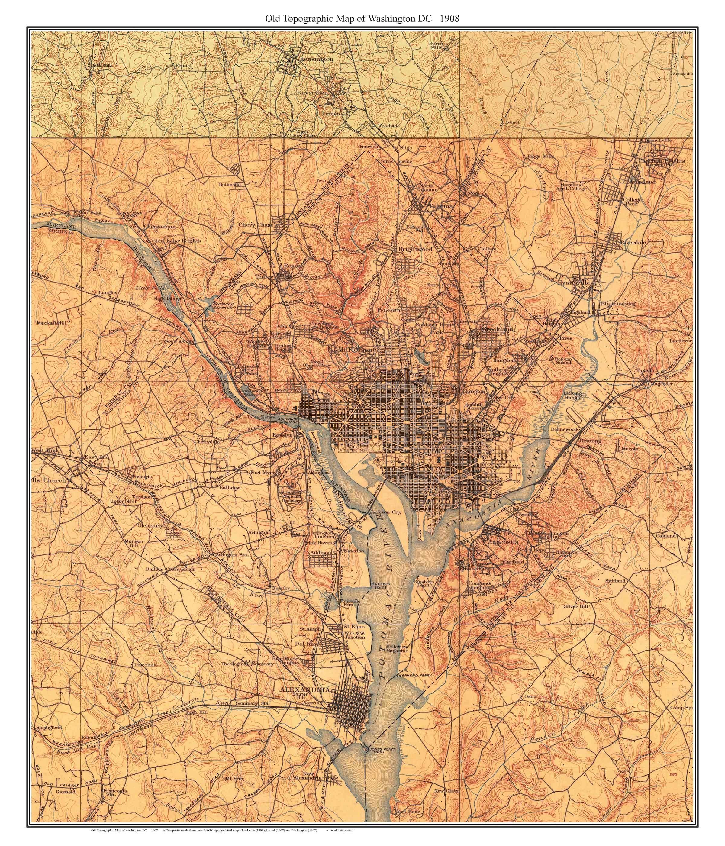 Topographic Map Washington Dc.Washington Dc 1908 Old Topographic Map Usgs Custom Composite Etsy