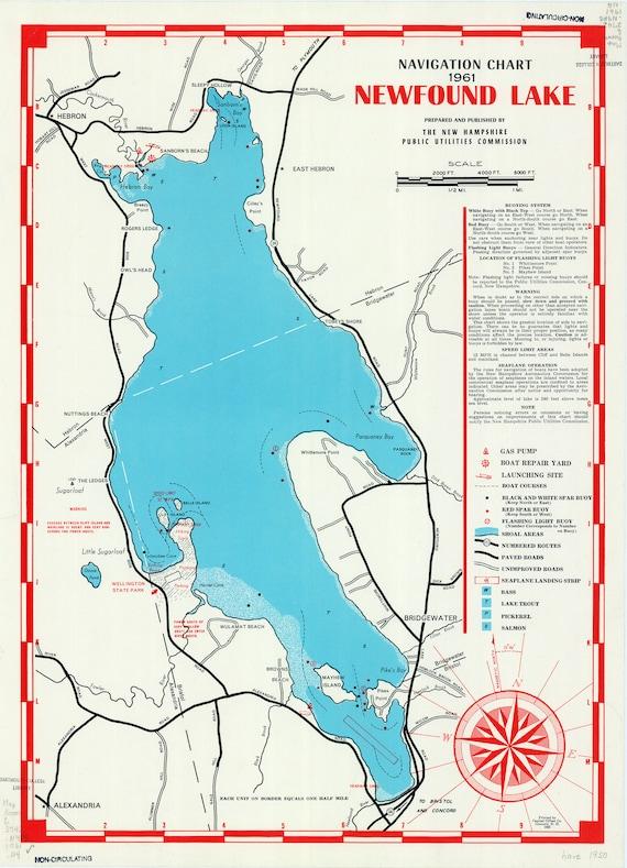 newfound lake nh map Newfound Lake 1961 Navigation Map New Hampshire Islands Etsy newfound lake nh map