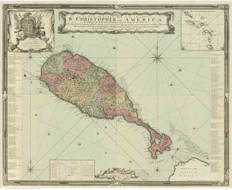St Kitts St. Christopher Map ca 1753 by Baker landowners | Etsy