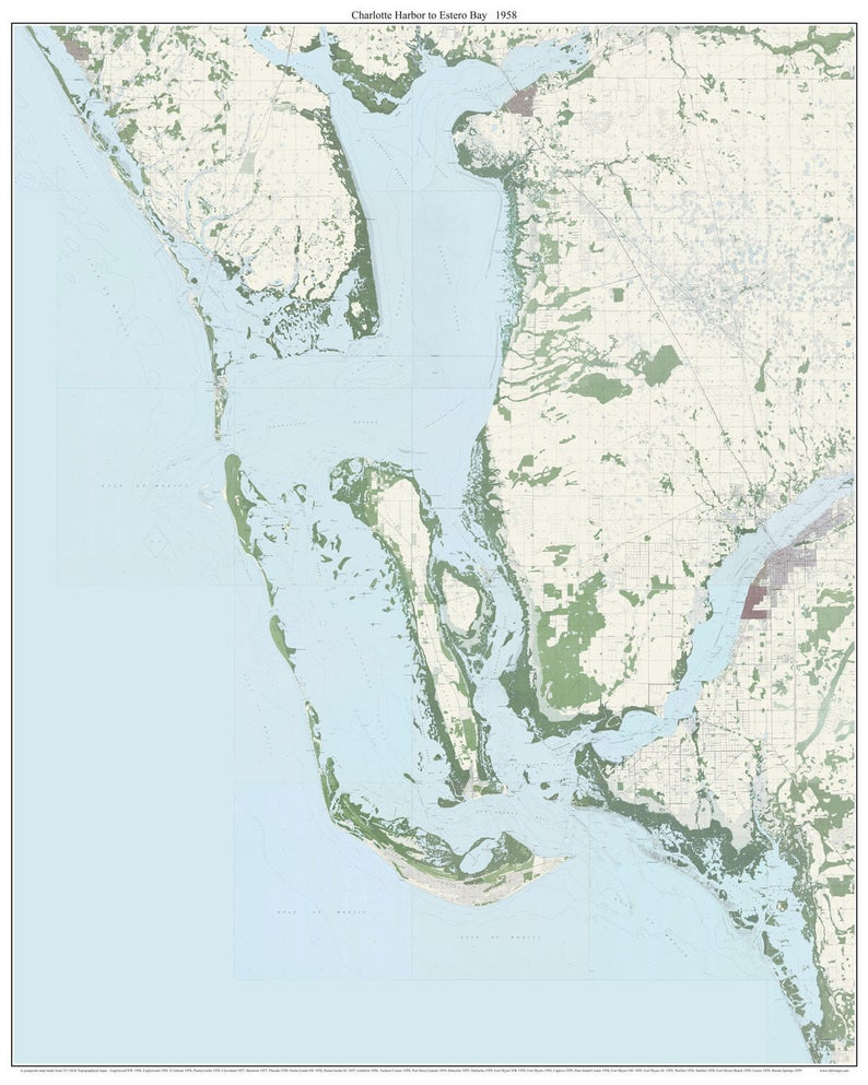 Charlotte Harbor to Estero Bay Florida 1958 Old Topo Map A   Etsy