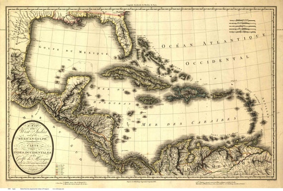 Map Of Florida Cuba And Puerto Rico.Caribbean 1806 Map By Lapie Reprint Cuba Puerto Rico Etsy