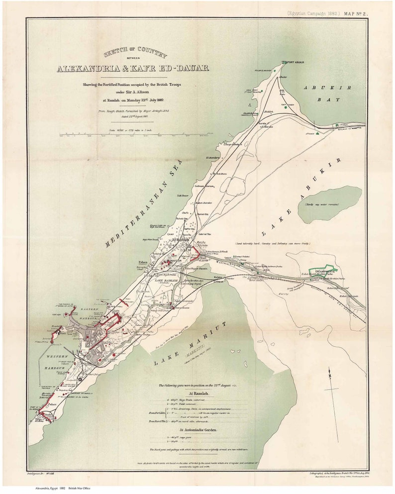 Alexandria Egypt ca 1882 map military reprint