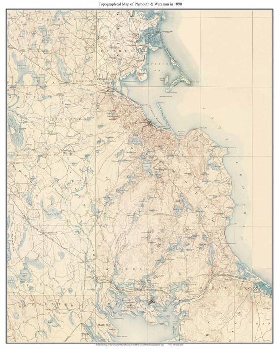 Topographic Map Massachusetts.Plymouth Wareham 1890 Old Topo Map Massachusetts Usgs Etsy