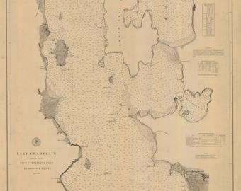 Lake Champlain 1879 - Plattsburgh, NY & Burlington, VT - Nautical Map by USCS -  Reprint - Sheet 2